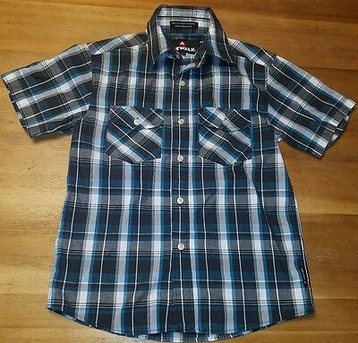 AIRWALK BOYS SHIRT MEDIUM 8 PLAID SHORT SLEEVE TOP POLO COLLARED back to school
