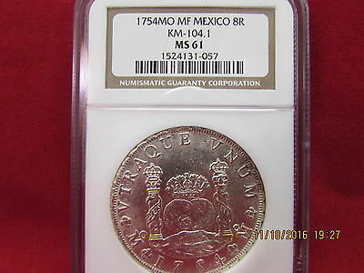 1754 Mo Mf Mexico 8 Reales Silver Coin Ngc Ms61 (Km-104.1)