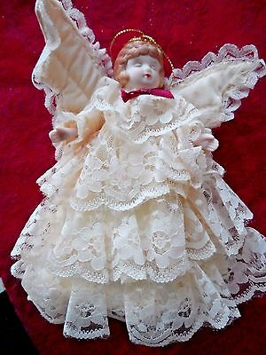 Vintage Tree Topper - LACE ANGEL WITH CERAMIC HEAD & ARMS