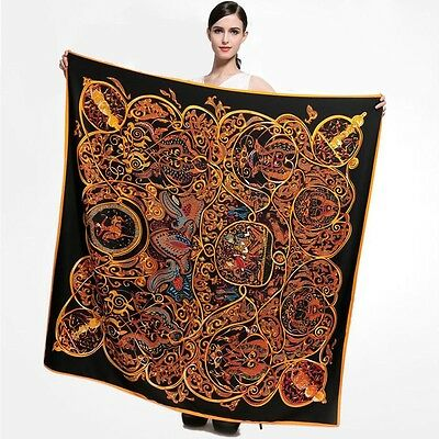 Silk Wrap Scarf Hijab 50x50 square red green blue pink gold black floral paisley