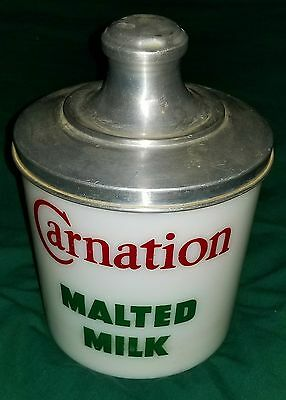 Vtg. Carnation Malted Milk Store Counter / Display Jar 1940 50s Advertising NICE