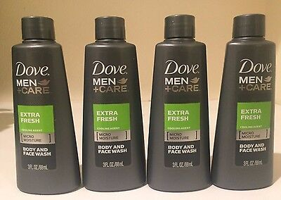 4  Dove Men+Care Extra Fresh Body & Face Wash 3 oz. Travel Size  FREE SHIPPING