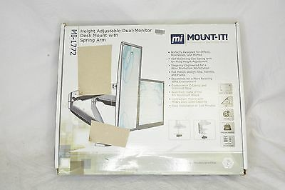 "Mount-It! Monitor Desk Mount Stand Height Adjustable Arm Fits Up to 32"" Display"