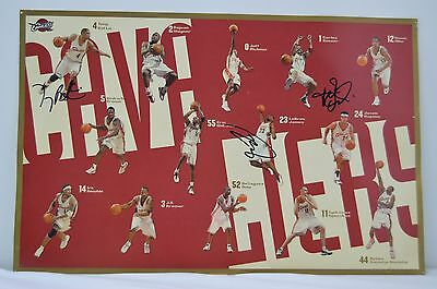 Lebron James Rookie Signed Cavs Poster Autographed Kevin Ollie Tony Battie Cleve