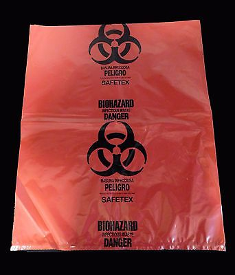 """(250) Biohazard Bags Red Infectious Waste 3 Mil Thick 19"""" x 23"""""""