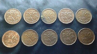 10x CANADIAN COPPER PENNY 80's COLLECTION LOT 1980 - 1989