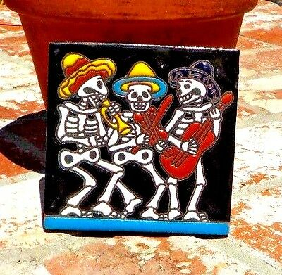 DAY OF THE DEAD MARIACHI BAND TILE 4 IN x 4 IN HAND MADE IN MEXICO FREE SHIPPING