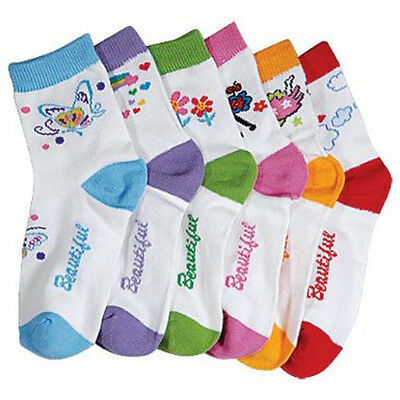6 PAIRS BABY/ TODDLER GIRLS NOVELTY COMPUTER SOCKS - SIZE 00-12 Mths