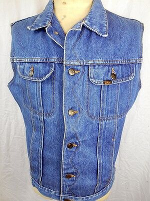 Vintage 1980s Lois Australia Faded Blue Denim Trucker Style 4-pocket Vest 38-39