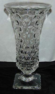 """Fostoria AMERICAN CRYSTAL *9 3/4"""" SQUARE FOOTED VASE*"""