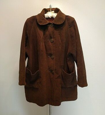 Vintage Union Made Brown Corduroy Jacket  Womens Medium Button Front 60s Hipster