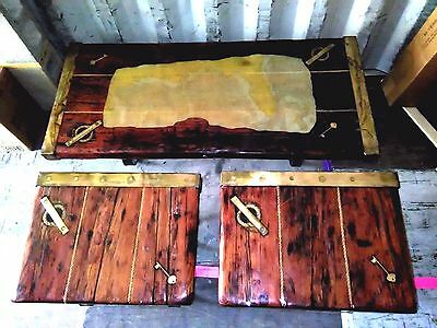 Vintage Nautical ~Rare 3 Piece Set~ Glazed~ Ship Hatch Cover Tables