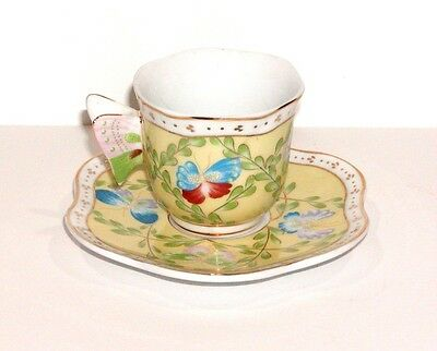 LOVELY RARE ESPRESSO/ DEMITASSE CUP & SAUCER SET w/ COLORFUL BUTTERFLY PATTERN !
