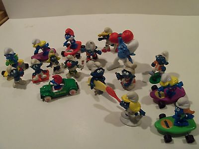 Lot Of 17 Vintage Smurfs, 5-1970's Papa Smurf Car With Papa ,5 Surfboards,etc.