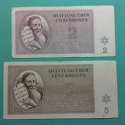 TWO (2x) THERESIENSTADT CONCENTRATION CAMP GHETTO MONEY 2 AND 5-KRONEN JUDAICA