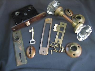 Antique Vintage 8 Point Glass Door Knobs Set With Hardware And Key