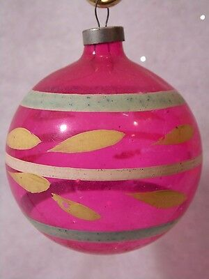Vintage Unsilvered Christmas Ornament Glass 40s WW2 Era Striped LARGE