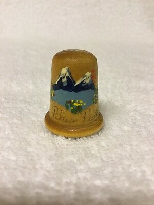 Vintage ~Pikes Peak Wooden Thimble~Hand Crafted~Hand Painted~Signed~