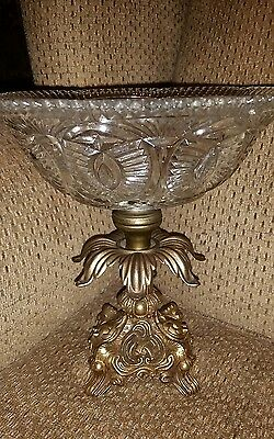 Vintage glass and brass compote