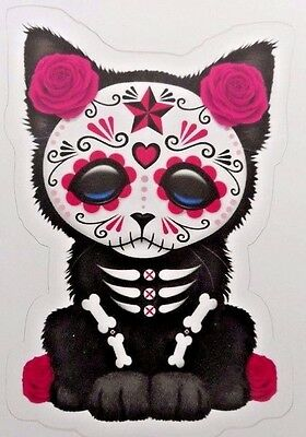 Day Of The Dead Sticker Dia De Los Muertos Gato Pink Kitty Cat