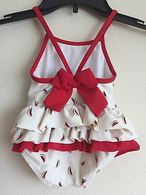 Janie And Jack Girls Watermelon One Piece Swimsuit Bow Back Size 3-6 Months