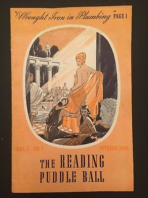 1936 The Reading Puddle Ball Vol 5 No 7 Wrought Iron In Plumbing Art Deco Paper