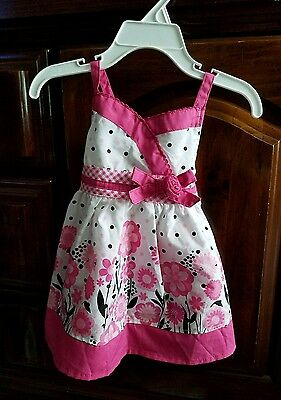 Sugah & Honey Baby Girls Floral White and Pink Dress, size 3 to 6 months