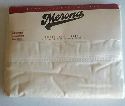 NEW Merona Queen Flat Sheet 180 Thread Count Combed Cotton Made in USA