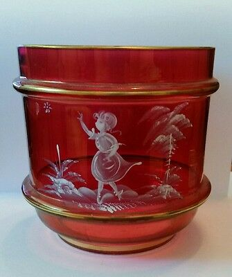 Fenton Mary Gregory Cranberry Glass Candy Jar Vase