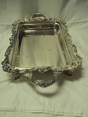 Antique SHERIDAN Silverplate Ornate Footed Rectangular Tray Platter w/ Handles