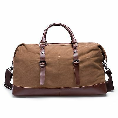 Coffee Large Men's Canvas Leather Tote Luggage Weekend Bag Travel Handbag Unisex