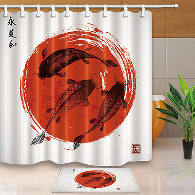 Red And Black Koi Carps Shower Curtain Bedroom Waterproof Fabric 12hooks New