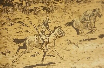 """ORIGINAL MEXICAN COMIC ART WESTERN MEXICAN REVOLUTION """"The Chase"""""""