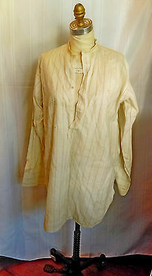 c1930s vintage men's collarless dress shirt with french cuffs, K.L.& Co., cream