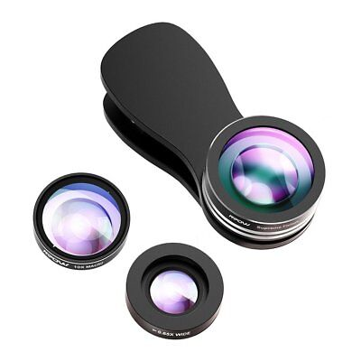 Mpow 3 in1 Clip Fish Eye+Macro+Wide Angle Lens Camera kit for iPhone/Samsung