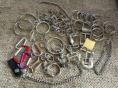 Lot of Loose Binder Rings, Key Rings, Chains Etc .Supplies 2lbs 50+ pieces Junk