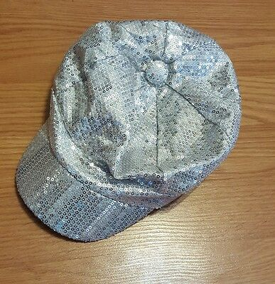 Justice Girls One Size Silver Sequin Covered Hat CUTE EUC!