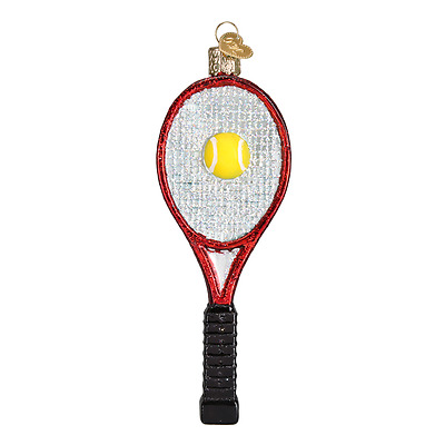 Old World Christmas Red Tennis Racquet Glass Christmas Ornament 44088