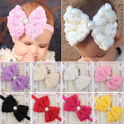 Baby Girls Kids Toddler Big Rose Bowknot Headband Hair Band Lace Bow Accessories