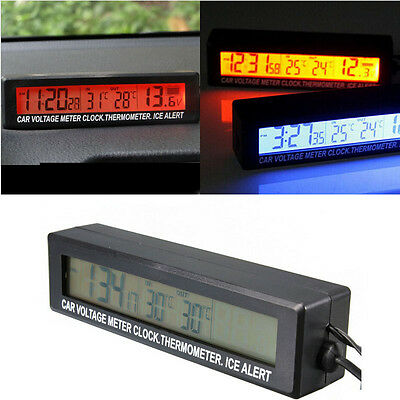 12v LCD Car In/Out Temperature Thermometer Voltage Digital Alarm Clock Practical
