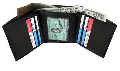 Black Men's Soft Leather Id Credit Card Holder Plain Trifold Wallet L25