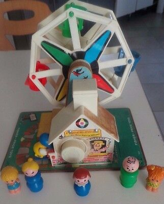 ancien jouet vintage grande roue FISHER PRICE toys musicale + figurines