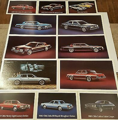 Huge Lot 24 Showroom Posters 1980s Oldsmobile Cutless Lowrider Classic Car