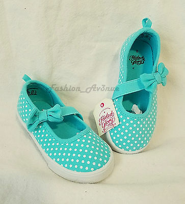 NWT Toddler Girls Canvas Mary Jane Walking Shoes Size 8 Bow Strap Blue Green