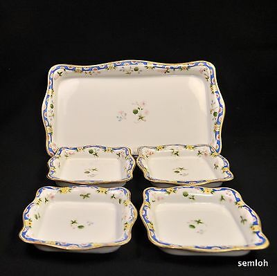 NIPPON M-in-Wreath SANDWICH Ice Cream Set HandPainted BLUE Geometric FLORAL Gold