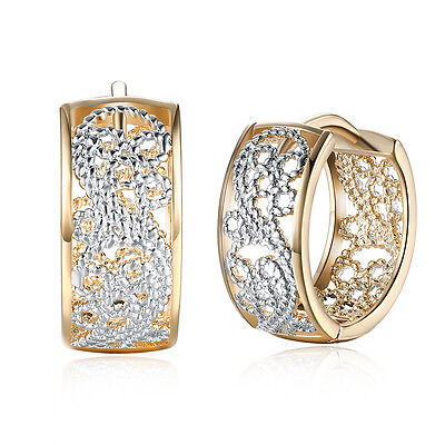 Women Solid 18K Gold Plated Ear Buckle Hoop Huggie Earrings Christmas Jewelry