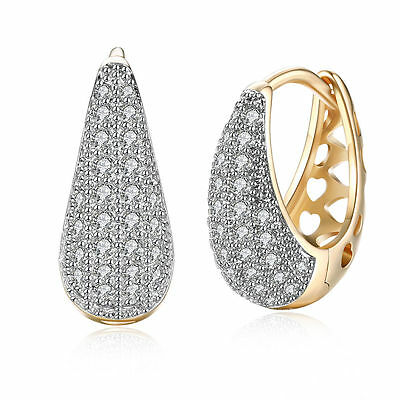 Women 18K Gold Plated Jewelry Water Drip Crystal Ear Buckle Hoop Huggie Earrings