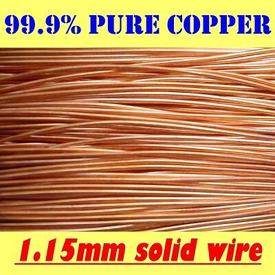 10 METRES SOLID BRIGHT COPPER WIRE, 1.15mm, 18G SWG or 17G AWG !!FREE POSTAGE!!