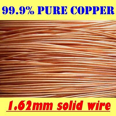 10 METRES SOLID BRIGHT 99.9% PURE COPPER WIRE, 1.62mm = 16G SWG = 14G AWG