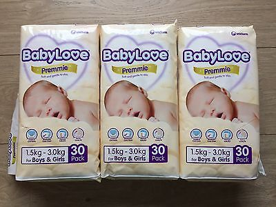 BabyLove Premmie Premature Baby Nappy Nappies 3 X 30 Pack